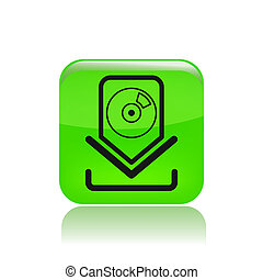 Vector illustration of single isolated music download icon