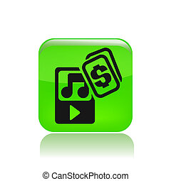 Vector illustration of single isolated music player icon