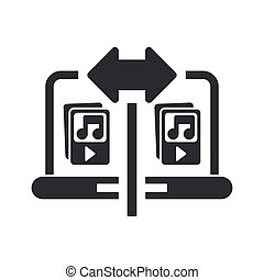 Vector illustration of single isolated music sharing icon