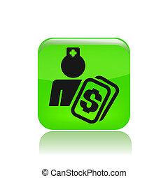 Vector illustration of single isolated nurse cost icon