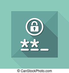 Vector illustration of single isolated password access icon