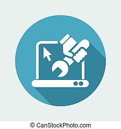 Vector illustration of single isolated Pc repair icon