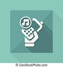 Vector illustration of single isolated phone music icon