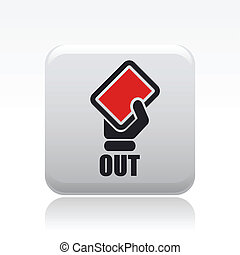 Vector illustration of single isolated red out icon