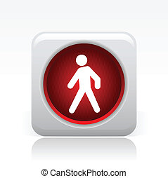 Vector illustration of single isolated red traffic light icon