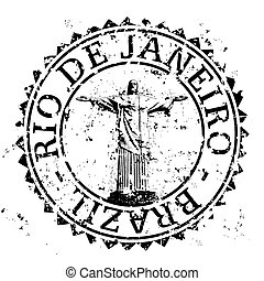 Vector illustration of single isolated Rio de Janeiro stamp icon