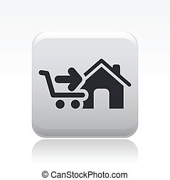 Vector illustration of single isolated store icon