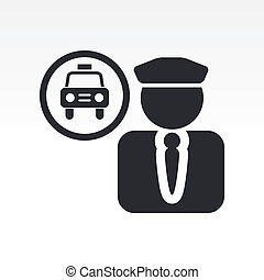 Vector illustration of single isolated taxi driver icon