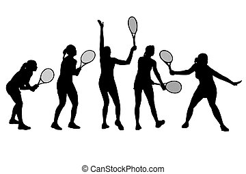Vector illustration of single isolated tennis player icon set