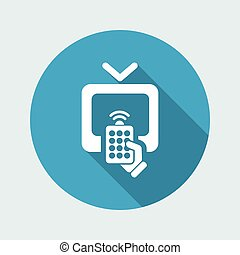 Vector illustration of single isolated tv remote icon