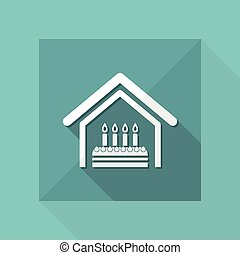 Vector illustration of single isolated home birthday icon