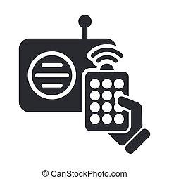 Vector illustration of single isolated radio remote icon