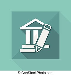 Vector illustration of single isolated temple design icon