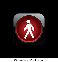 Vector illustration of single isolated pedestrian traffic light icon