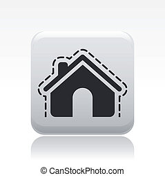 Vector illustration of single isolated house protection icon