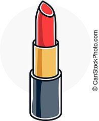 Vector illustration of single red lipstick isolated on white background. Personal cosmetic accessory, glamorous beauty product.