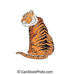 Vector illustration of sitting Bengal tiger isolated on white background. Large cat with orange fur and black stripes. Wild animal