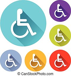 wheelchair icons - vector illustration of six colorful...