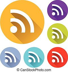 wifi icons - vector illustration of six colorful wifi icons