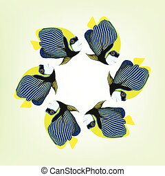 Vector illustration of six swimming fishes.