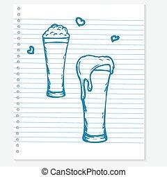 sketch of a beer