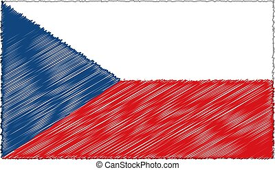 Vector Illustration of Sketch Style Czech Republic Flag