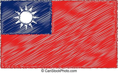 Vector Illustration of Sketch Style Taiwan Flag
