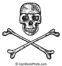 Vector illustration of skull and crossbones.