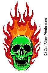 vector illustration of skull falling with fire flame