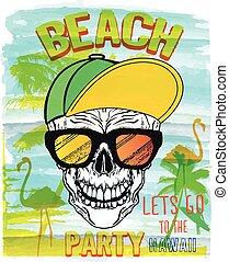 Vector Illustration of Skull, Summer and beach