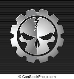Vector illustration of metal skull over gray background