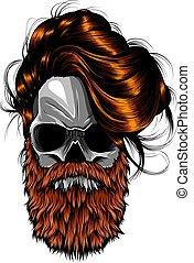 vector illustration of skull with beard design art