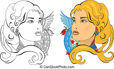 Vector illustration of Slavic Princess