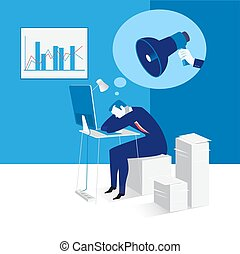 Vector illustration of sleeping businessman at work, flat style design