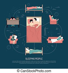 Vector Illustration Of Sleeping People