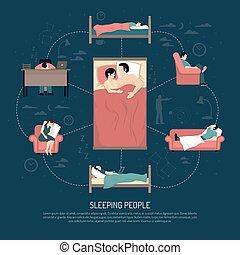 Vector Illustration Of Sleeping People
