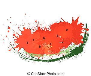 Vector illustration of slice of watercolor watermelon with...