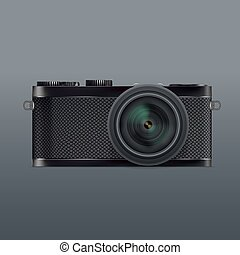 Vector illustration of SLR Camera System with lens.