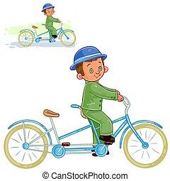 Vector illustration, icon of small boy ride retro bike