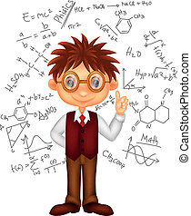 Smart boy cartoon - Vector illustration of Smart boy cartoon