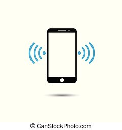 Vector illustration of smart phone with wifi symbol. Technology and communication concept.