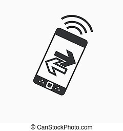 Smartphone transferring flat icon