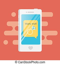 """Vector illustration of smartphone with the text message inside. Speech bubble with golden diamond Engagement ring and the words """"Marry me"""" inside."""