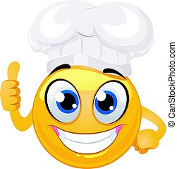 Smiley Emoticon as Chef Hat doing ok Hand sign