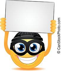 Smiley Emoticon Burglar holding a Blank White Board
