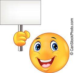 Smiley emoticon cartoon holding a b
