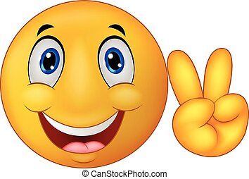 Smiley emoticon cartoon with v sign