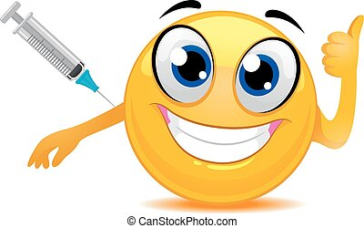 Smiley Emoticon Happily Taking a Vaccine - Vector...