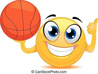 Smiley Emoticon holding Ball
