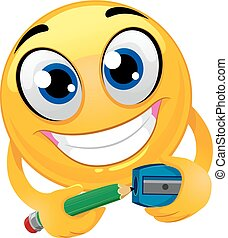 Smiley Emoticon Sharpening a Pencil